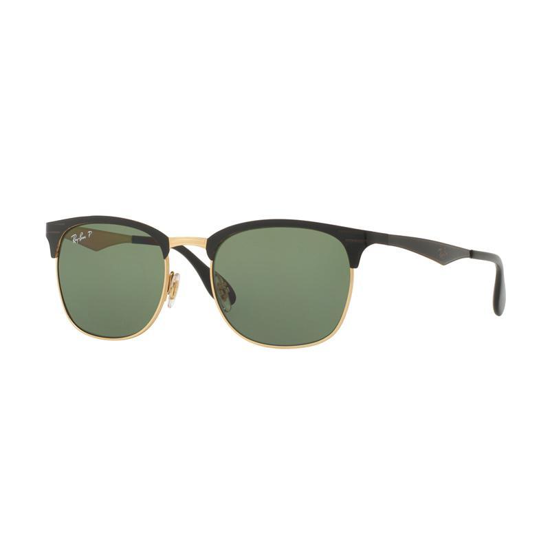 Ray-Ban RB3538 Sunglasses - Top Shiny Black On Gold [187-9A/Size 53/Dark Green Polar]