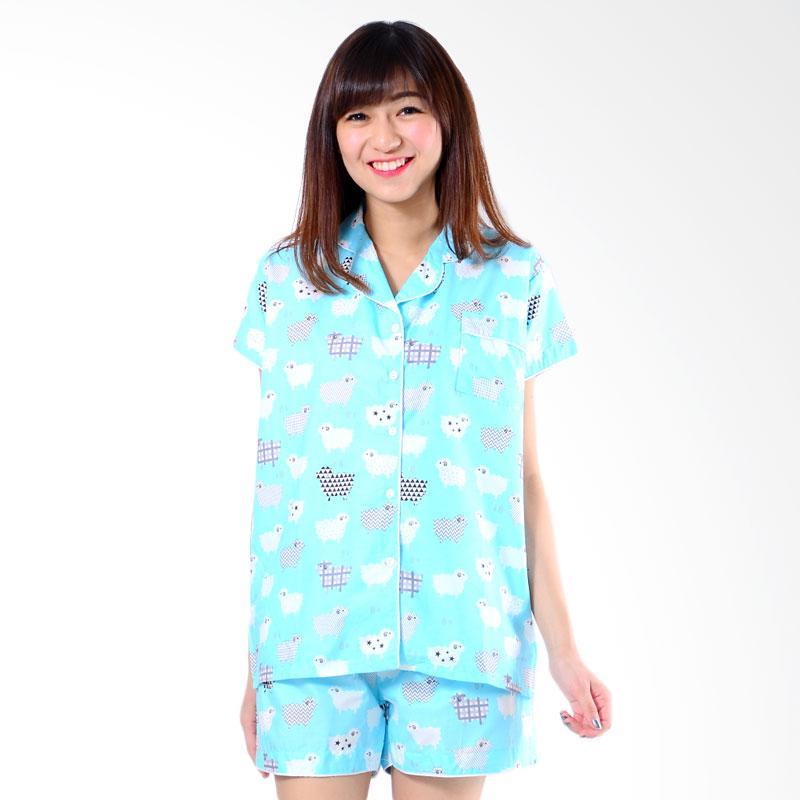 harga Madeleine Piyama Sheep Short Setelan Pakaian Tidur Wanita - Blue Blibli.com