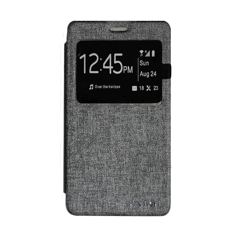 AIMI Flipshell Window Flip Cover Casing for Samsung Galaxy Note 4 - Silver