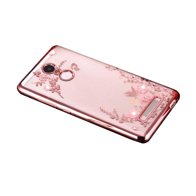 Jual OEM Case Flower Diamond Softcase Casing for Xiaomi Redmi Note 3 Pro - Rose Gold