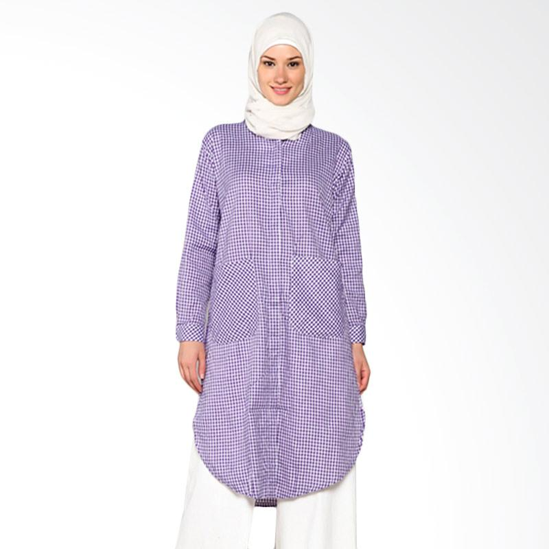 Chick Shop Simple Checkered Oval Long Shirt CO-68-02-U Baju Moslem - Purple