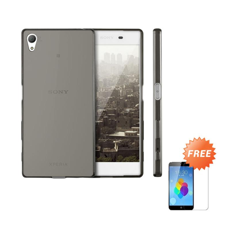 Case Ultra Thin Softcase Casing For Sony Xperia L or C2105 - Abu-abu + Free Tempered Glass