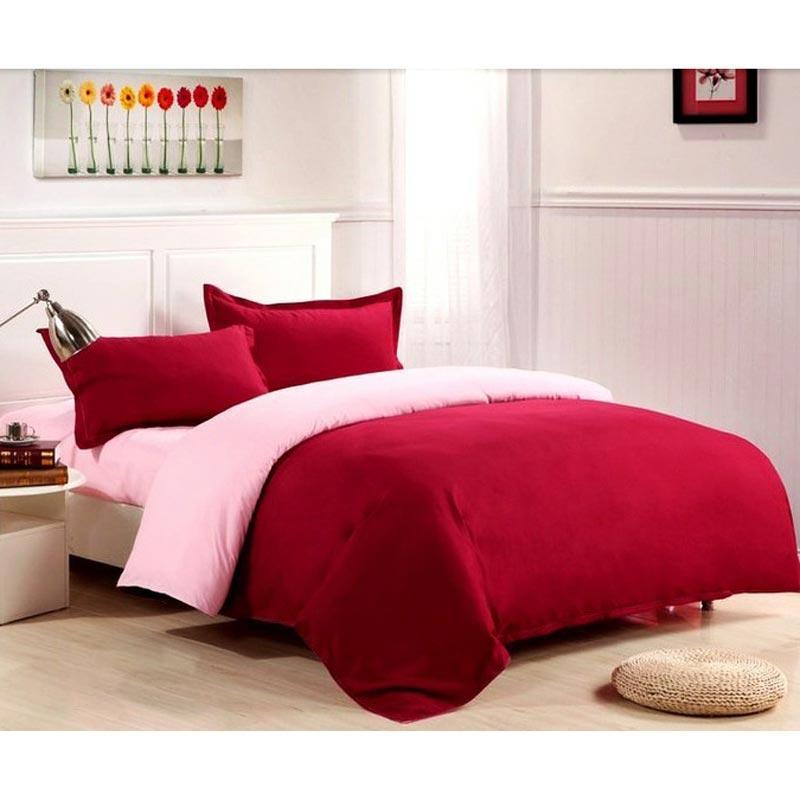 Ellenov Katun Jepang Super Set Sprei dan Bed Covers - Baby Pink Red Wine