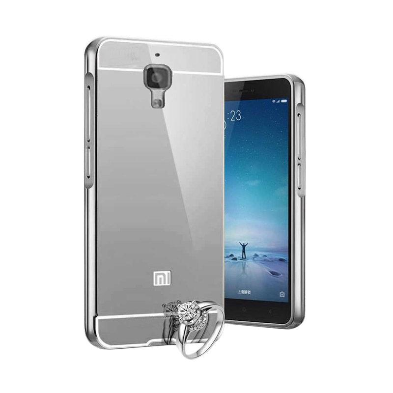 Case Aluminium Bumper Slide Mirror Casing for Xiaomi Mi 4 - Hitam [Best Seller]