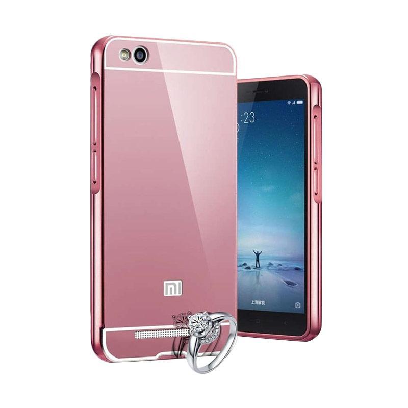 OEM Luxury Bumper Metal Sliding Backcase Casing for Xiaomi Redmi 4 - Rose Gold
