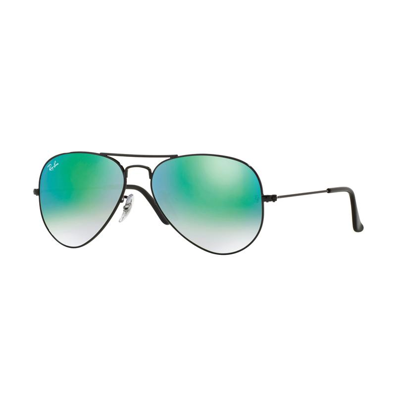 Ray-Ban Rb3025 Aviator Large Metal Mirror 002-4J Gradient Green Sunglasses - Shiny Black [Size 55]