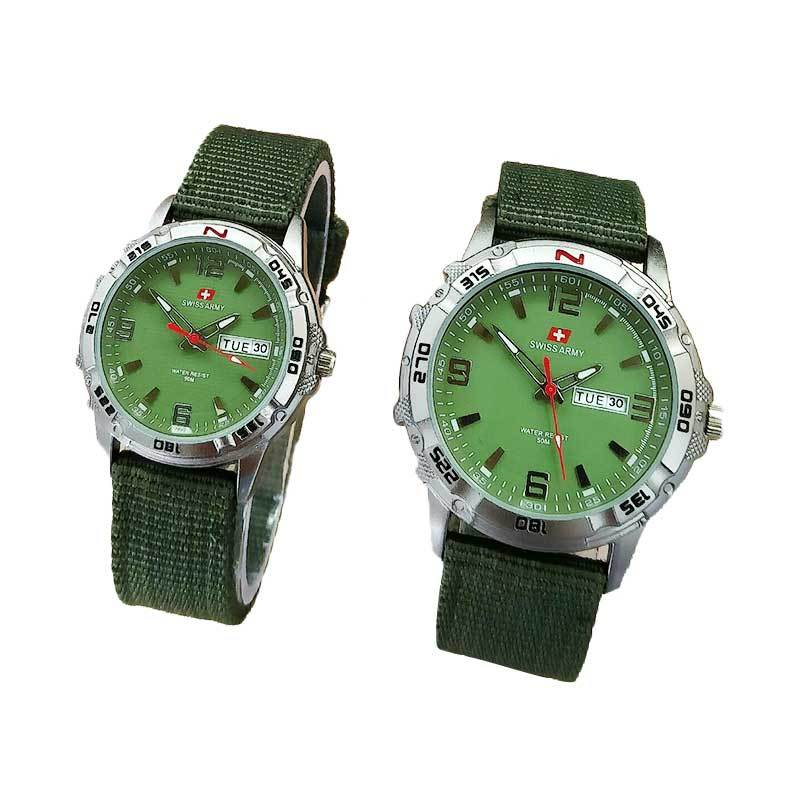 Swiss Army SA1978GL Jam Tangan Couple Serries Kanvas Strap - Hijau