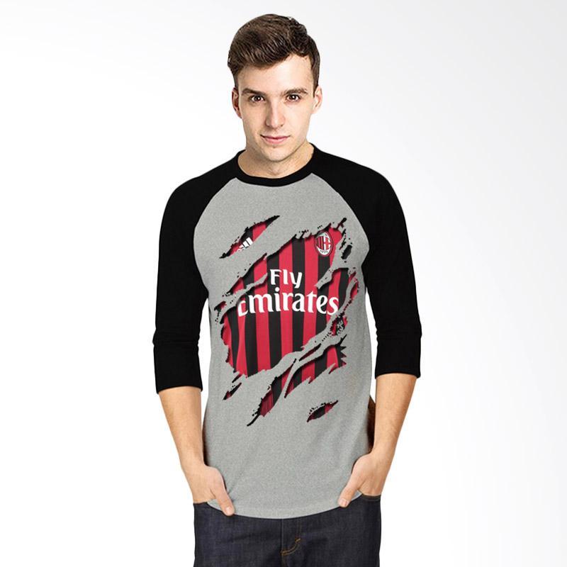 harga T-Shirt Glory Kaos 3D Ac Milan Jersey Raglan Atasan Pria - Abu Hitam Blibli.com