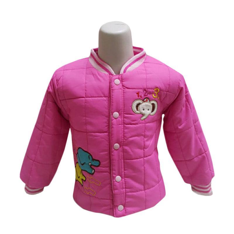 Chloe Babyshop F985 Bomber Bubble Elephant Long Sleeves Jacket Anak - Pink
