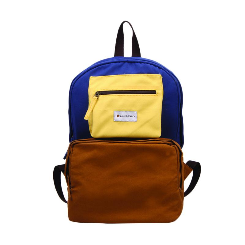 Luiperd BBP.56 Day Backpack Three Color Tas Ransel - Camel, Blue & Light Yellow