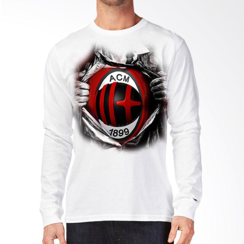 T-Shirt Glory 3D AC Milan Super Kaos Lengan Panjang Pria - Putih Extra diskon 7% setiap hari Extra diskon 5% setiap hari