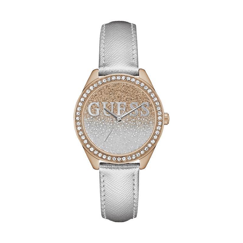 Guess W0823L7 Crystal Glitter Jam Tangan Wanita - Silver Rose Gold