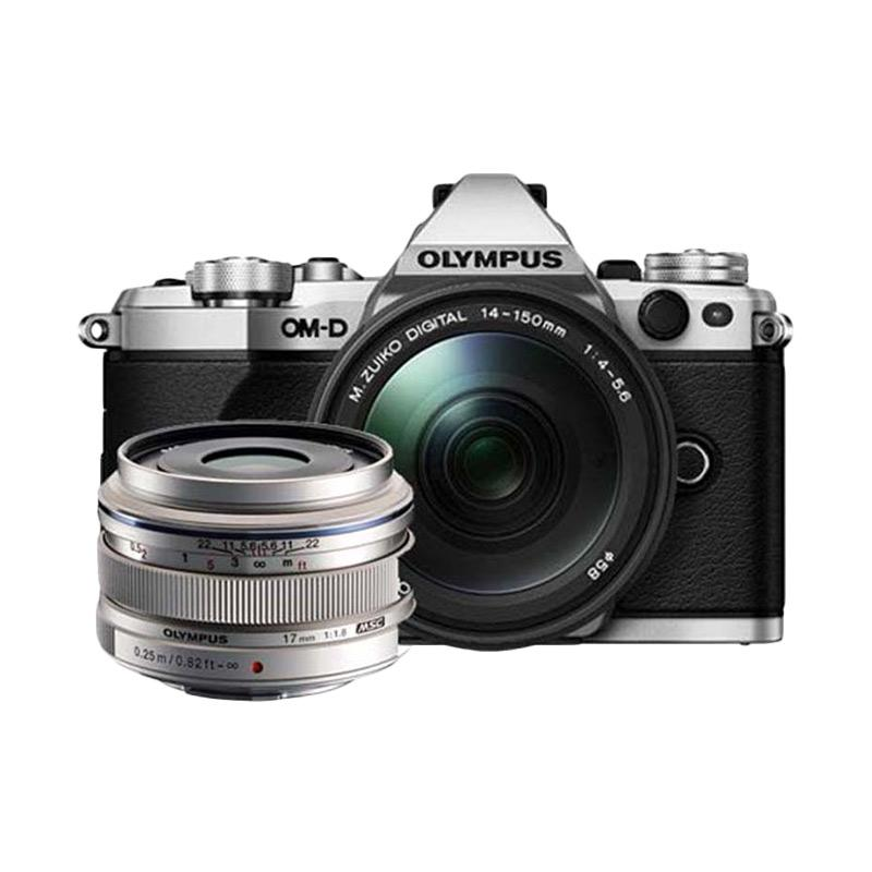 Olympus OM-D E-M5 Mark II Kit 14-150mm f/4.0-5.6 II + 17mm f/1.8 Kamera Mirrorless - Silver