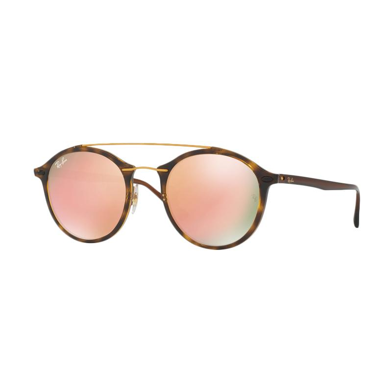 Ray-Ban 710/2Y RB4266 Light Brown Mirror Pink Sunglasses - Shiny Havana [Size 49]