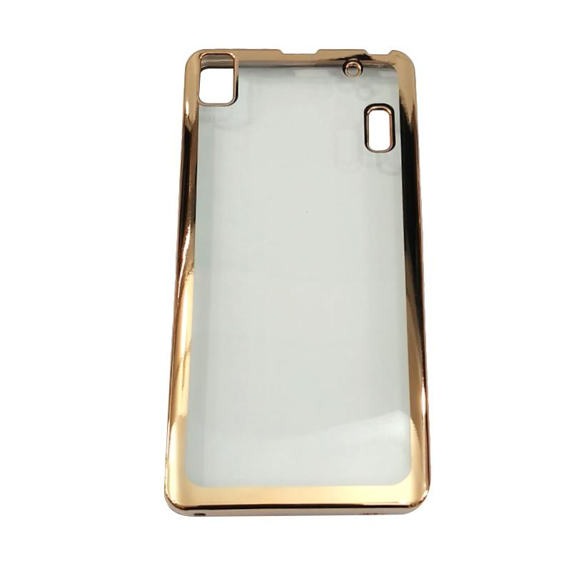 Softcase Lenovo A7000 List Chrome Rose Gold Transparant Tempered Source · Case Jelly Transparan Shiny Chrome