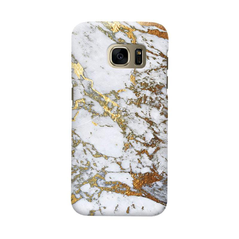 Indocustomcase Gold Marble Cover Casing for Samsung Galaxy S7