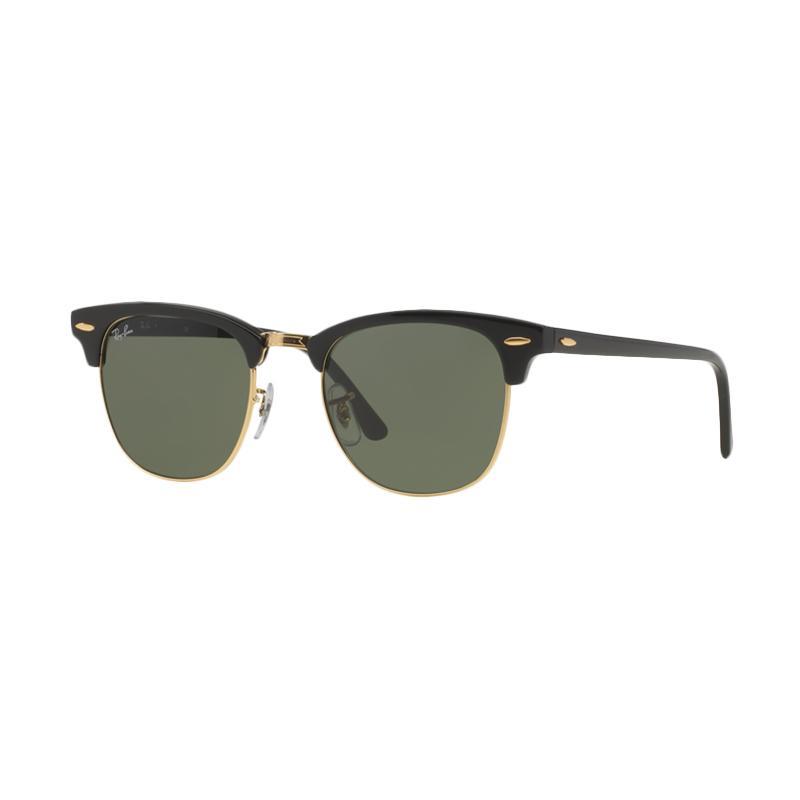 Ray-Ban Clubmaster RB3016 W0365 Sunglasses - Ebony [Size 51/Ebony Arista Frame/Crystal Green Lenses]