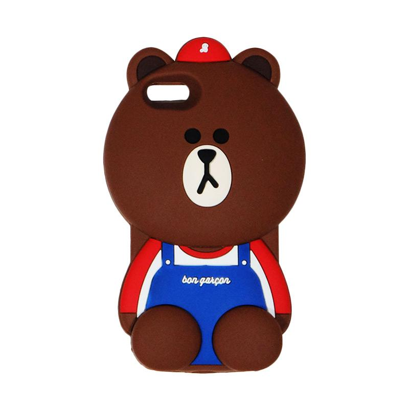 VR 3D Bear Bon Qaxcon Edition Silicon Softcase Casing for iPhone 5/5G/5S/5SE - Brown
