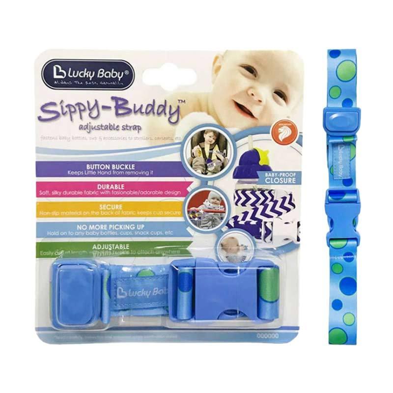 Lucky Baby Sippy Buddy Adjustable Strap Dot Aksesoris Botol - Blue