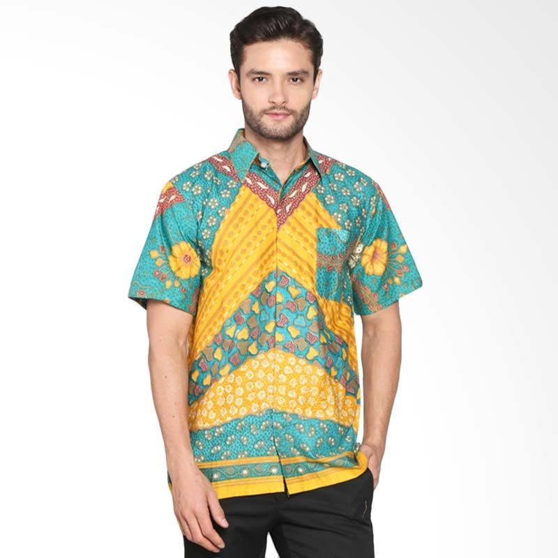 Blitique Motif Kembang Abstrak Kemeja Batik Pria - Hijau Kuning BLTQTC100HK