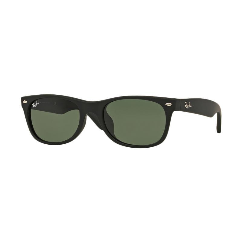 Ray-Ban New Wayfarer (F) RB2132F 622 Sunglasses - Black Rubber [Size 58 / Crystal Green]