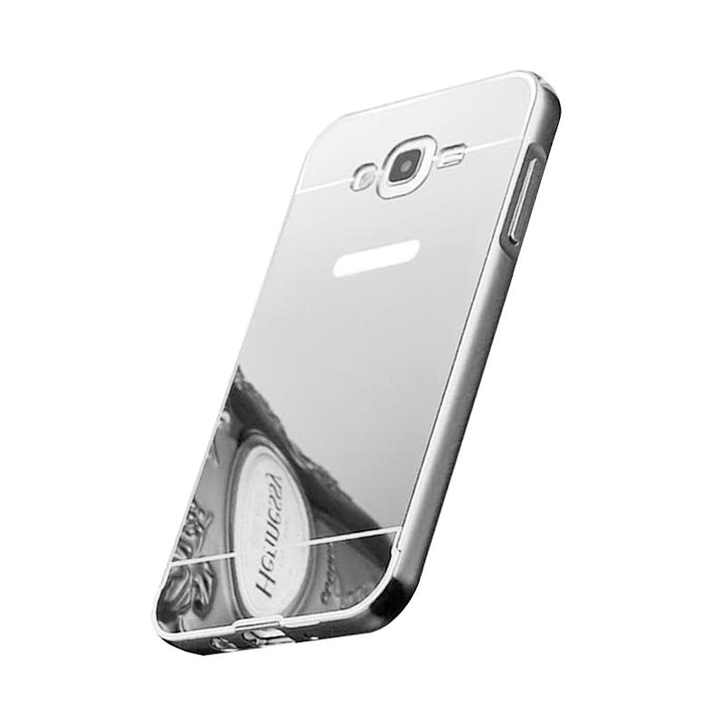 Bumper Case Mirror Sliding Casing for Samsung Galaxy Grand 1 - Silver