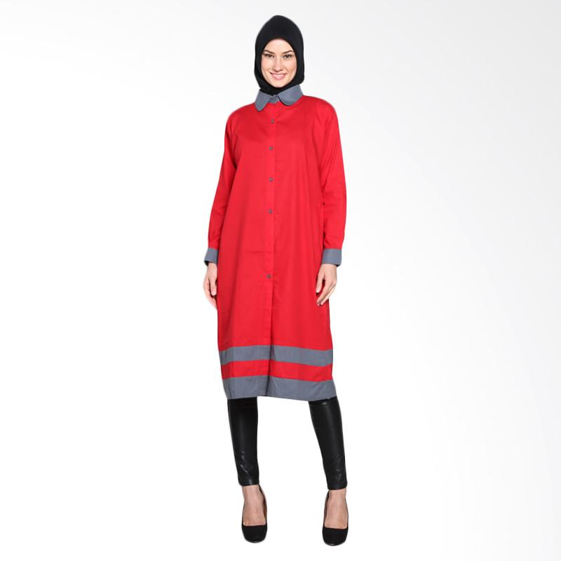 Chick Shop CO-73-03-MA Two Tone Sandwich Long Shirt Tunic Moslem - Red Grey