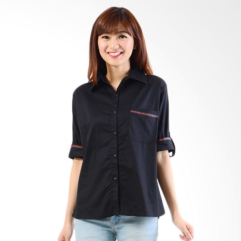 Spek Harga Jfashion Plain Shirt With List Long sleeve Atasan Wanita - Cindy Hitam Terbaru