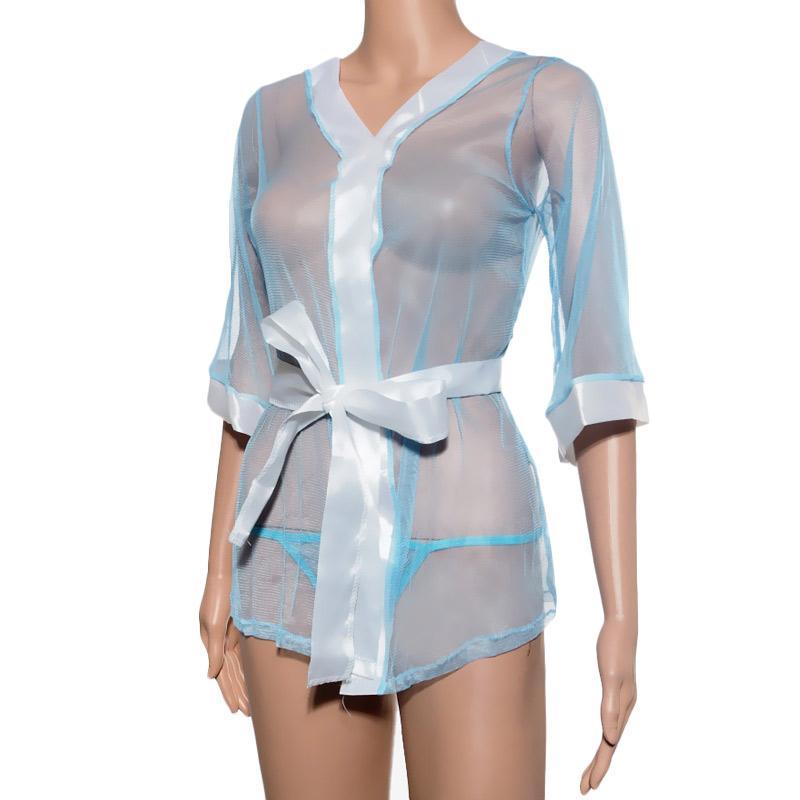 harga Kimochi Me Lingerie LBKIM062 Kimono Lingerie - Biru Transparent Blibli.com