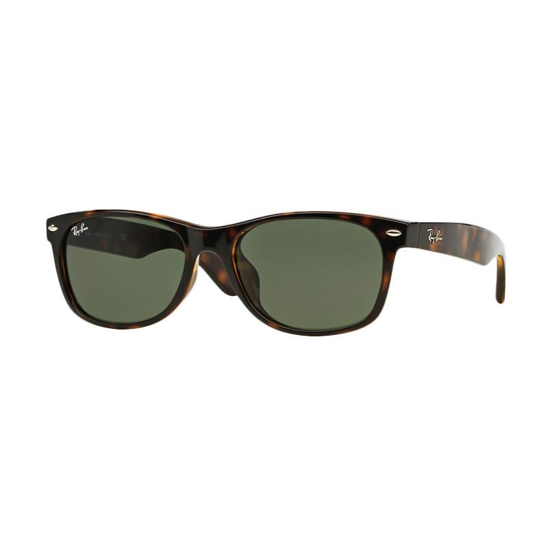 Ray-Ban New Wayfarer (F) RB2132F 902 Sunglasses  - Tortoise [Size 58 / Crystal Green]