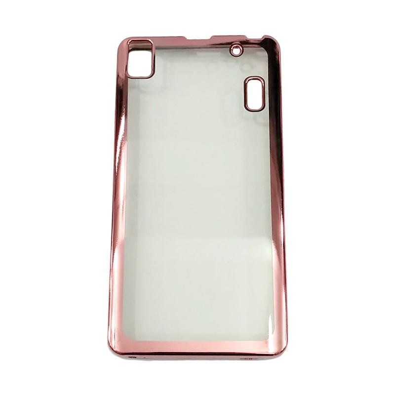 finest selection 1674d 900ee Case Jelly Transparan Shiny Chrome List Softcase Casing for Lenovo A7000 -  Pink