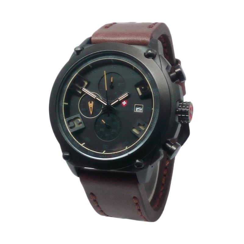 Swiss Army D46H270SA4076MCKT Chronograph Leather Strap Jam Tangan Pria