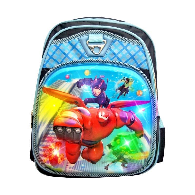 Autorace Big Hero 6 Karakter 3D dengan Lampu SB 902 BMX Tas Sekolah Anak - Darkblue