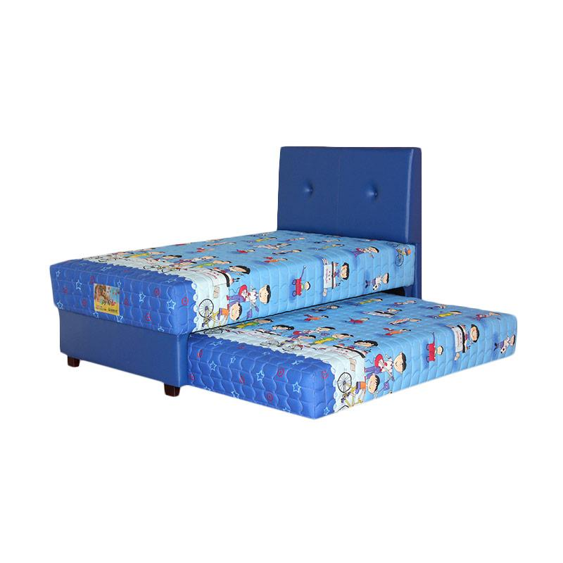 Guhdo Happy Kid 2 in1 Hb Bravo Set Springbed - Biru [Full Set/Khusus Jabodetabek]