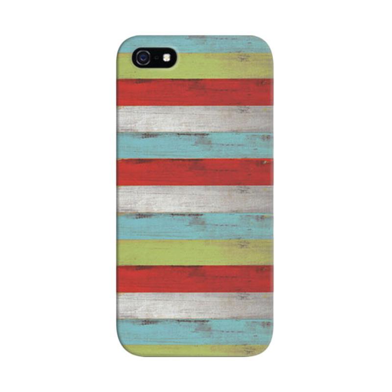 Indocustomcase Wood Weathered Stripes Custom Hardcase Casing for iPhone 5/5S/SE