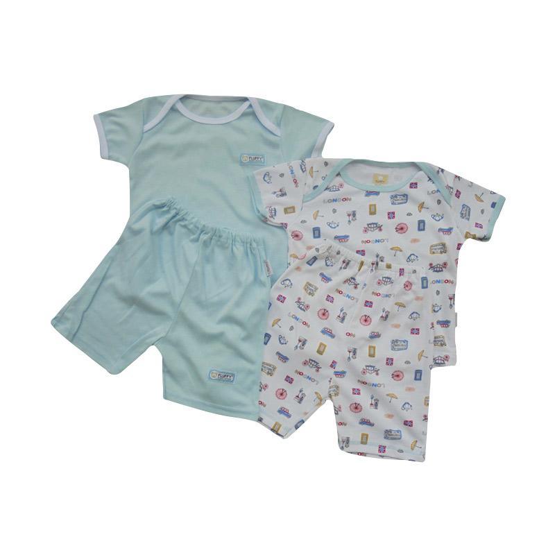 Fluffy Oblong Pendek Polos dan Motif London Setelan Baju Anak - White Biru