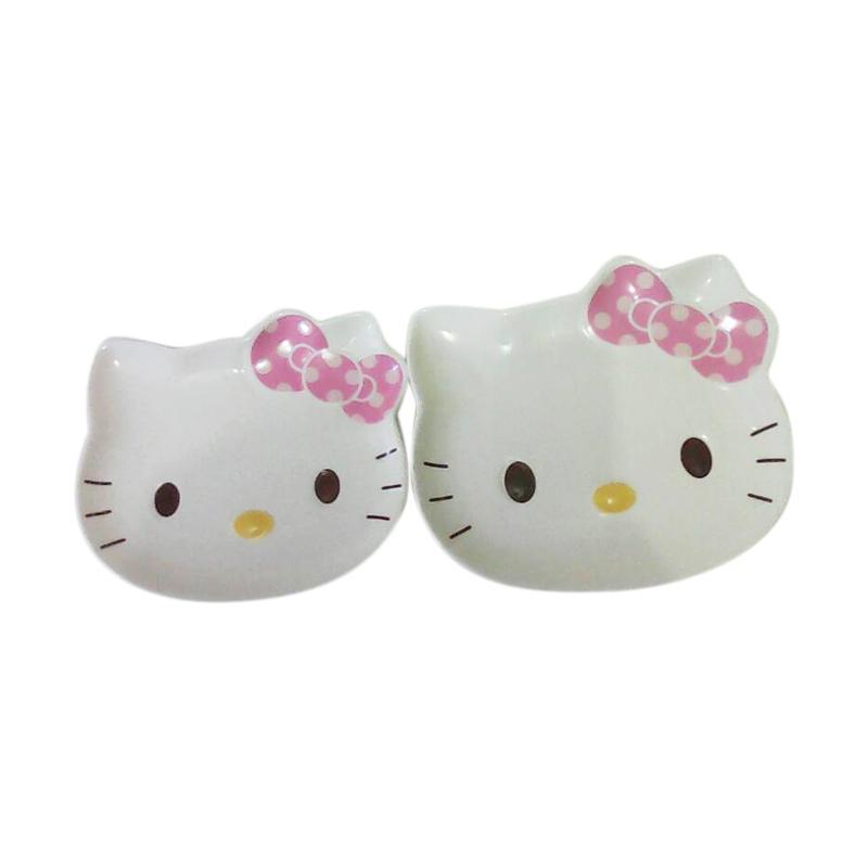 Hello Kitty Big Polka Ribbon HK Set Piring - White Pink Yellow [2 pcs]