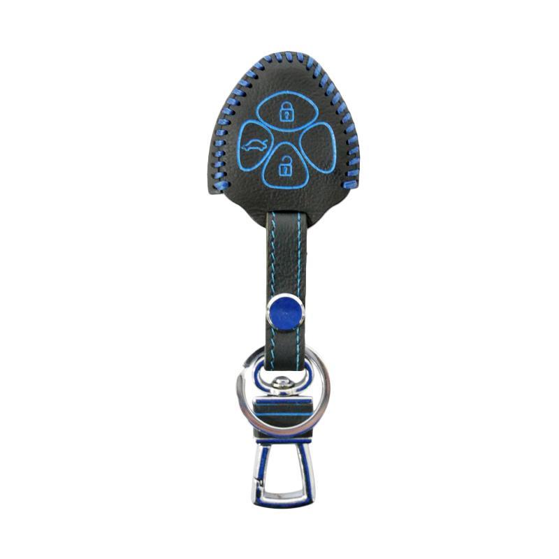 SIV - Kulit Premium Sarung Kunci Mobil 3 Tombol for Toyota - Biru CVR-PRM6163