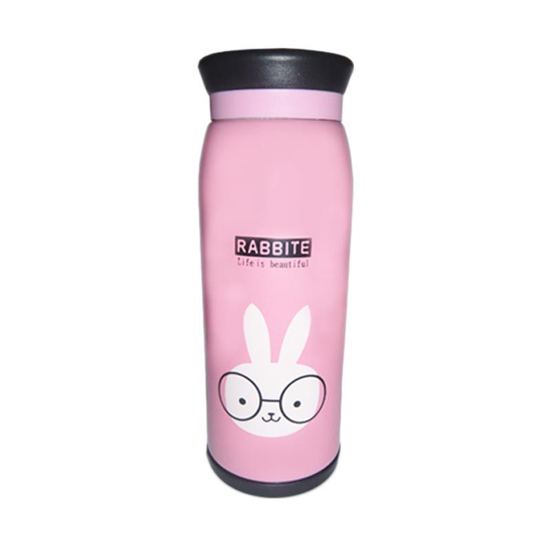 Nomuri Termos Stainless Steel Karakter Rabbit Botol Minum - Pink [500 mL]