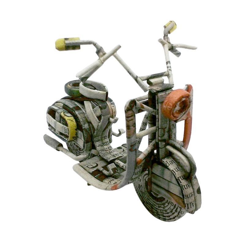 Gnol-S Miniatur Dari Kertas Koran Scooter Stang Panjang Kerajinan tangan