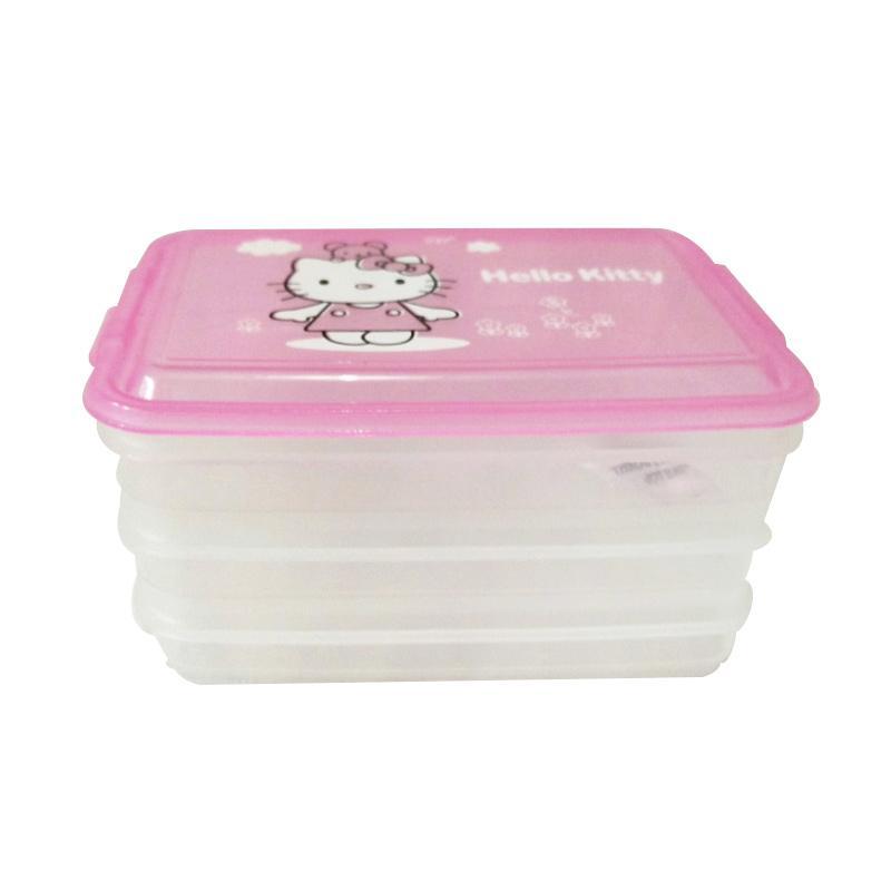 Hello Kitty Cute HK Mini Container Tempat Serbaguna Susun 3 - Pink