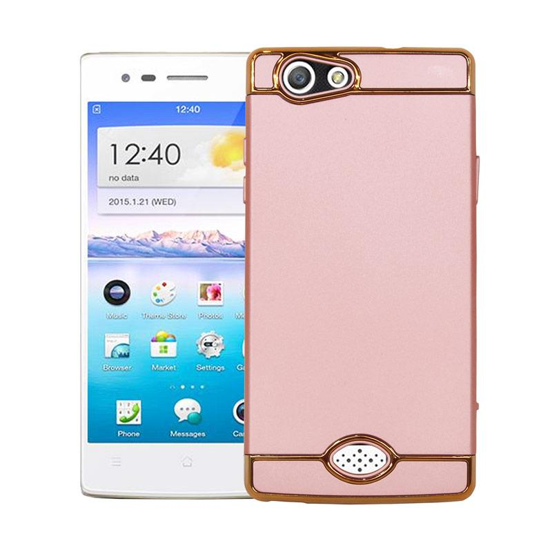 OEM 3in1 Plated PC Frame Bumper with Frosted Hardcase Casing for OPPO A31 or NEO 5 - Rose Gold