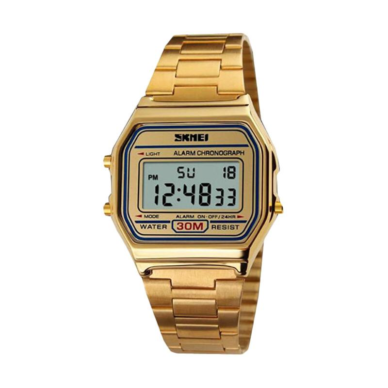 harga SKMEI DG1123 Casio Digital Casual Men Stainless Strap Watch Jam Tangan Pria - Gold Blibli.com