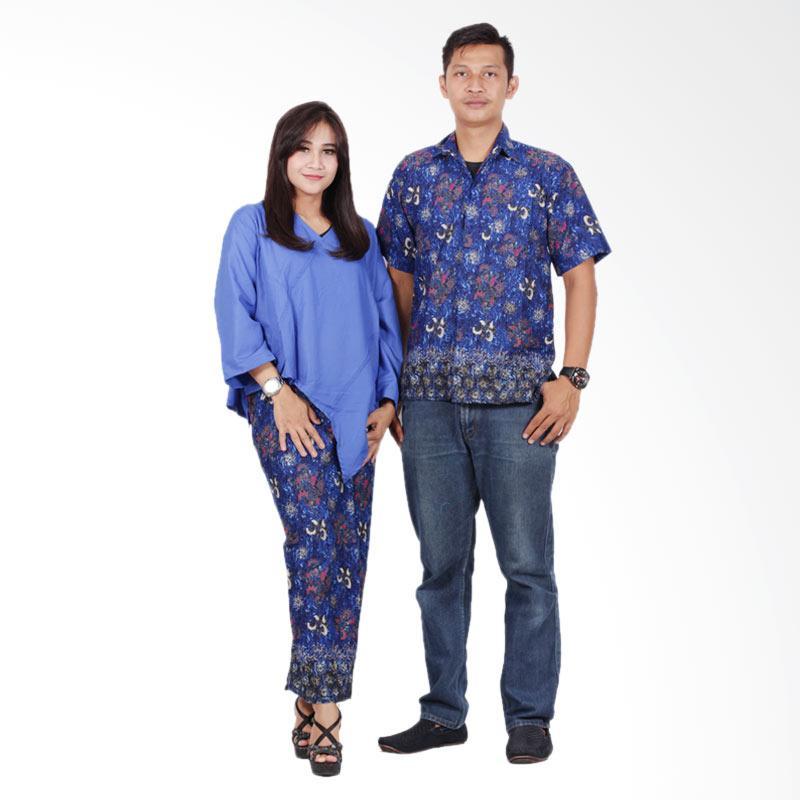 Batik Putri Ayu Solo srd201 Batik Sarimbit Dress - Biru Tua