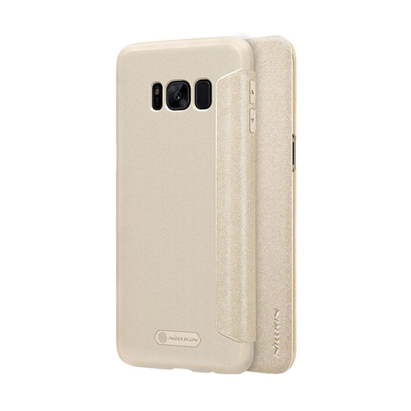 Nillkin Original Sparkle Leather Flip Cover Casing for Samsung Galaxy S8 - Gold