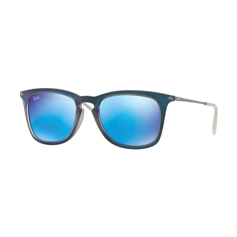 Ray-Ban RB4221F 617055 Light Green Mirror Blue Sunglasses - Shot Blue Rubber [Size 52]