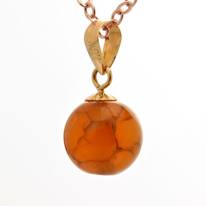 Tiaria Natural Gemstone Brown Stone Pendant Liontin Emas Dan Batu Akik 18K