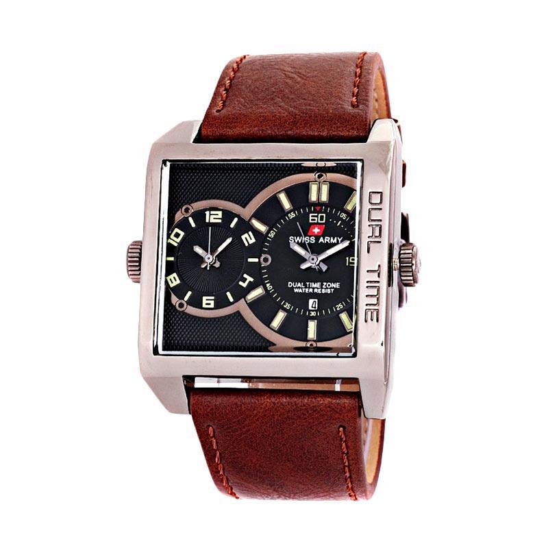 Swiss Army Dual Time SA0440M Jam Tangan Pria - Dark Brown