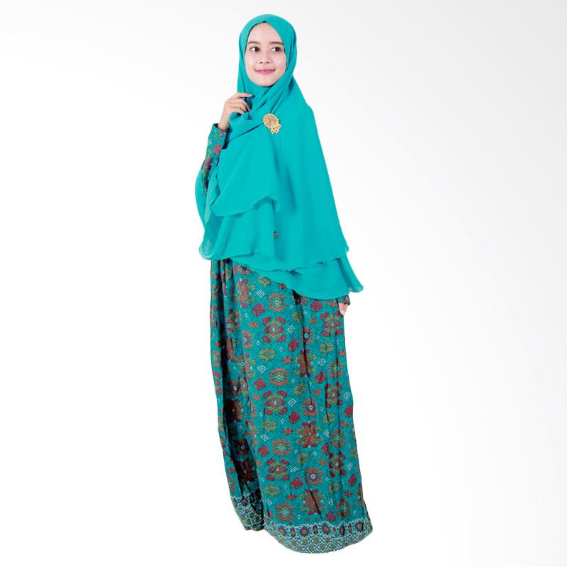 Batik Putri Ayu Solo Gamis Syari GH2 Dress Muslim - Hijau