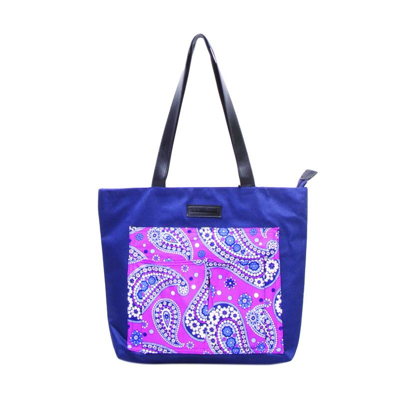 Machupicchu Tote Bag Canvas to Motif BTO-13 Tas Wanita - Purple Paisley